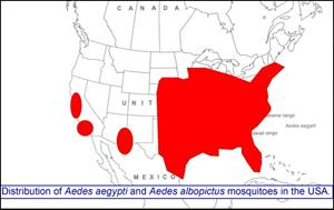 Image of distribution of Aedes aegypti and Aedes albopictus mosquitoes in the USA