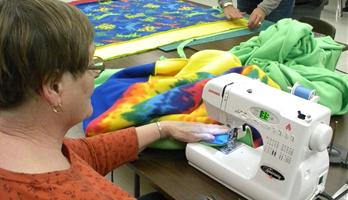 Sewing during Quilt Guild